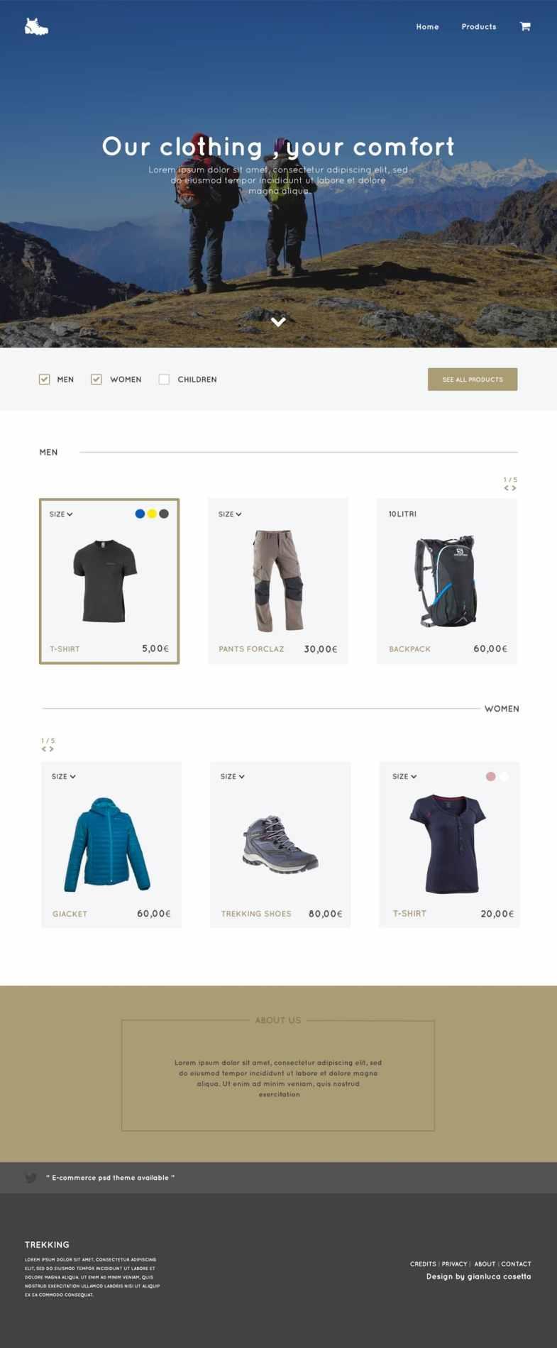 Trekking Store - Free E Commerce Web Template PSD Бесплатные шаблоны для интернет-магазина psd - Trekking Store Free E Commerce Web Template PSD - Бесплатные шаблоны для интернет-магазина PSD