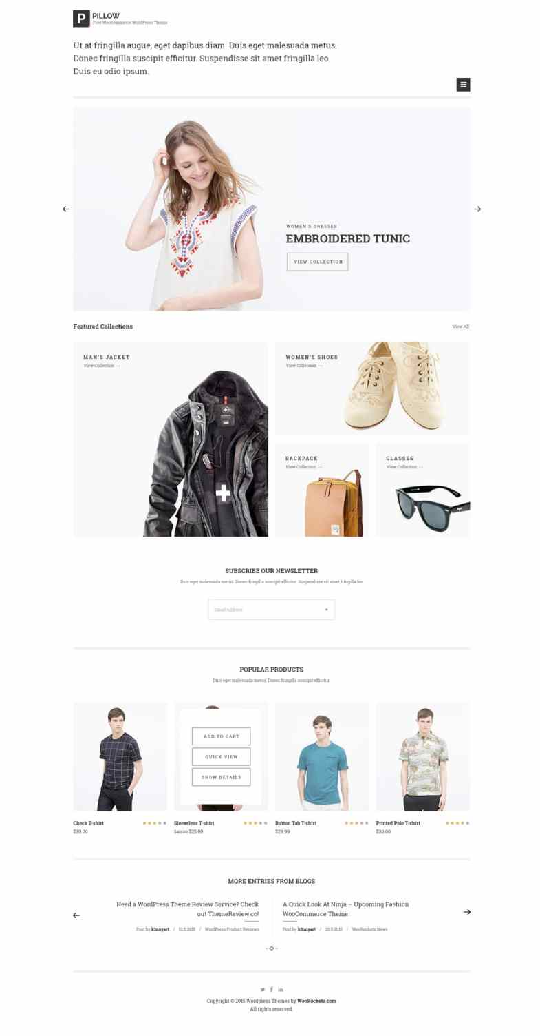 Pillow Free Minimal eCommerce Web Template PSD