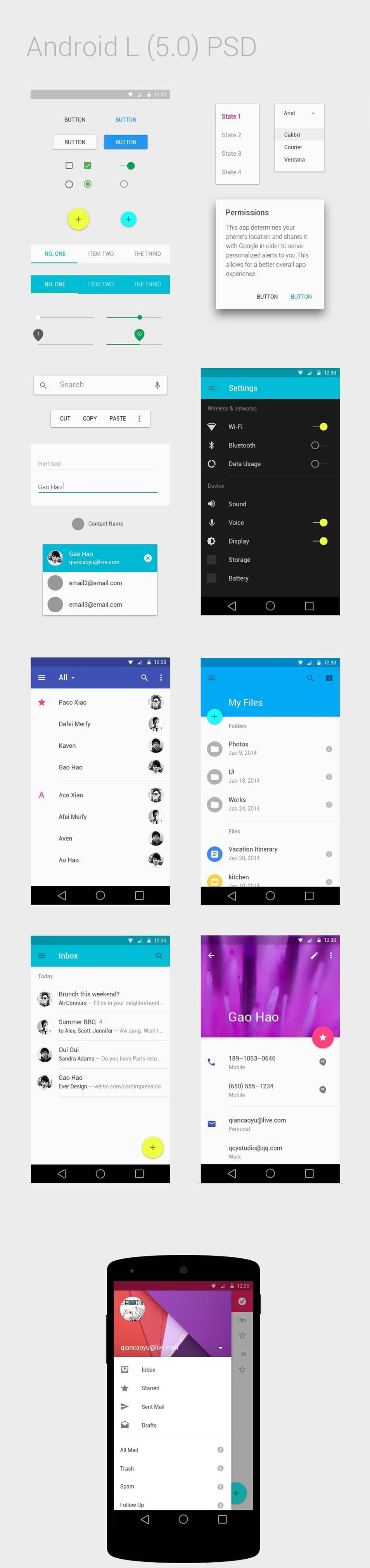 Android L 5.0 UI Kit PSD