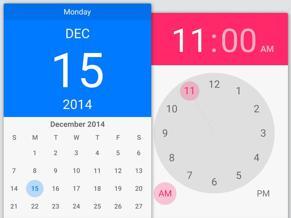 Android Lollipop Date & Time Pickers PSD
