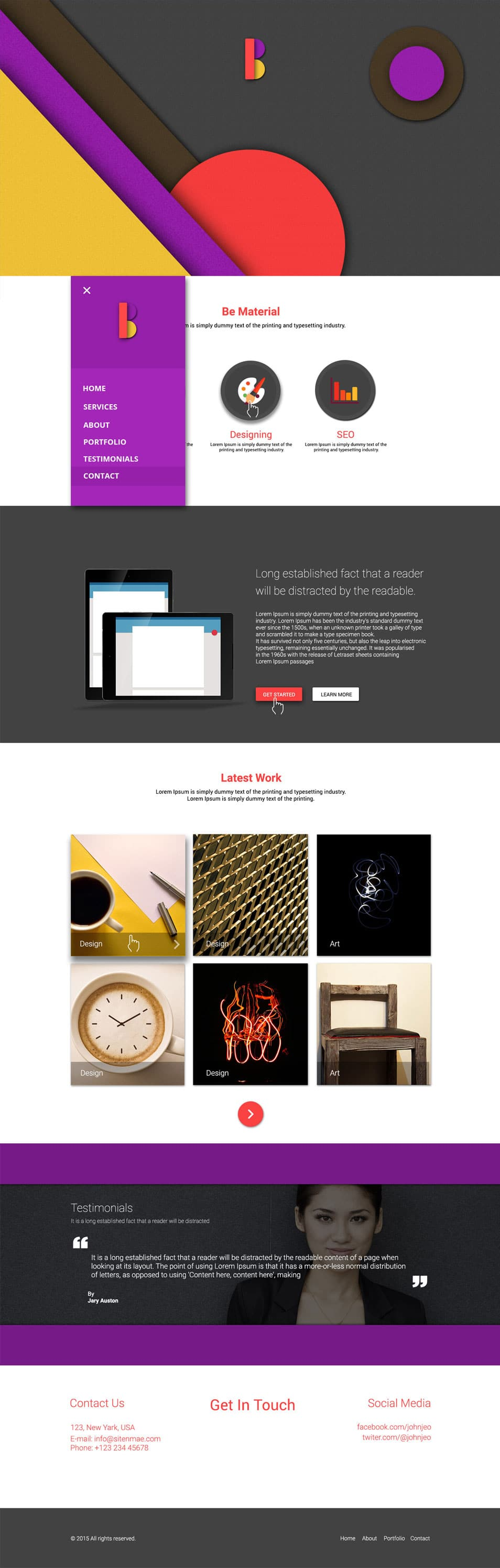 Be Material – One Page Material Design Psd Template