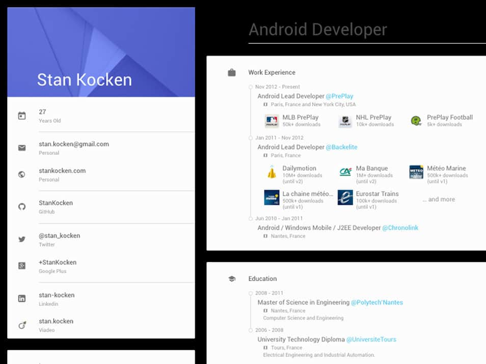Material Design Resume Style sketch