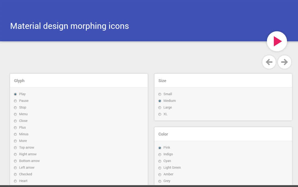 Material design morphing icons
