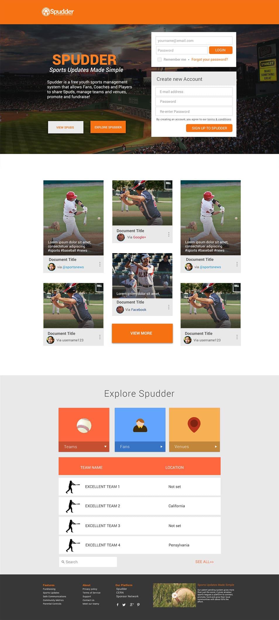 Sports News Website Material Design Free Psd