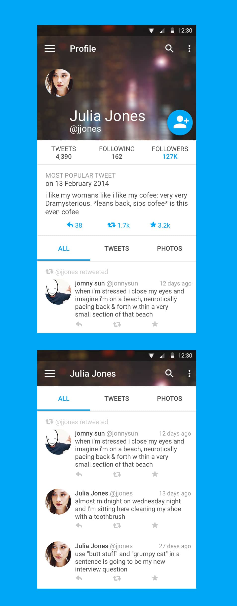 Twitter Profile using Material Design PSD