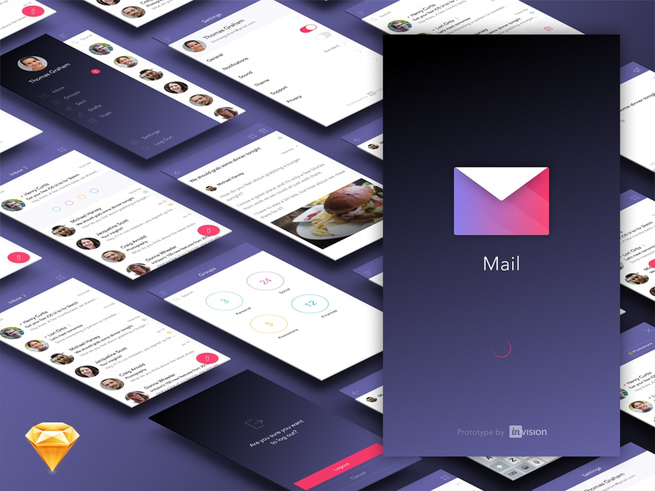 Free Mail App Ui Kit (Sketch)