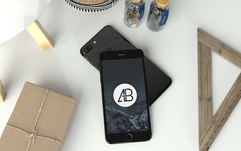 Realistic Jet Black iPhone 7 Plus Mockup