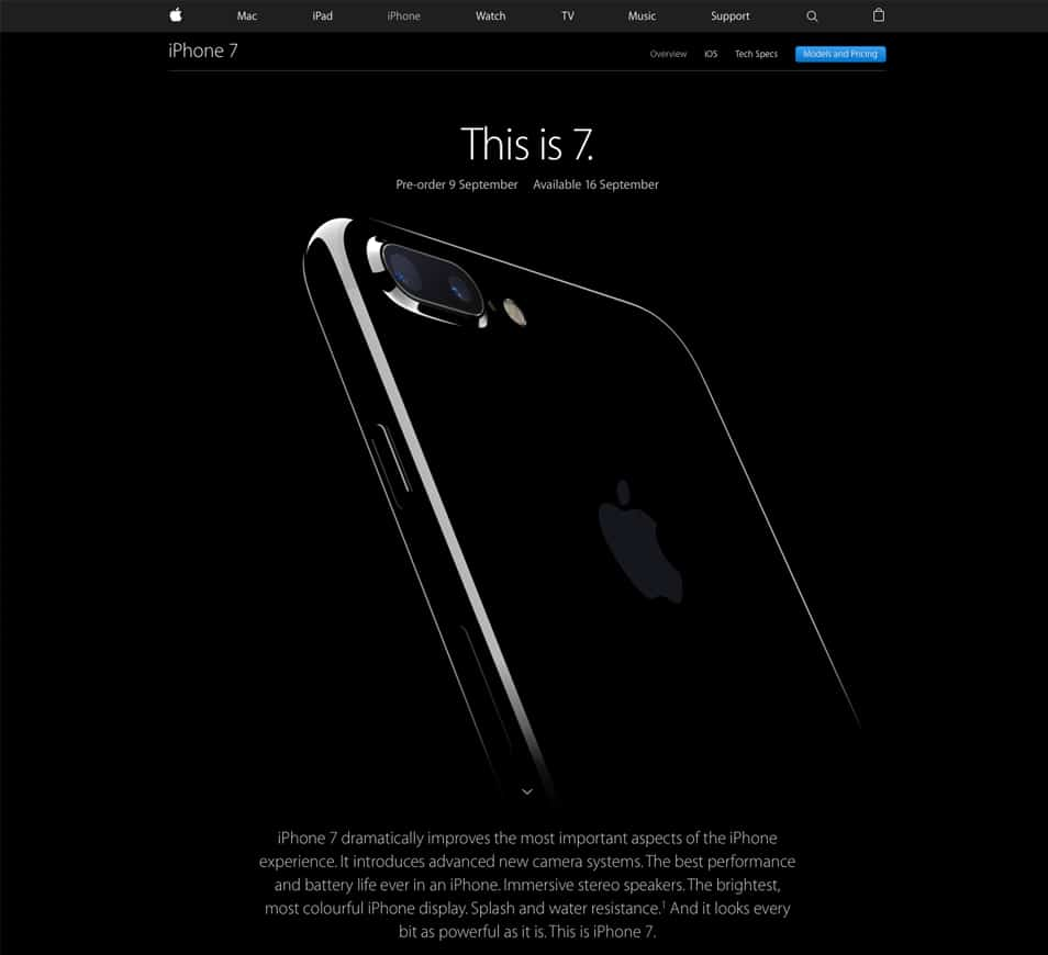 iPhone 7 Landing Page Freebie