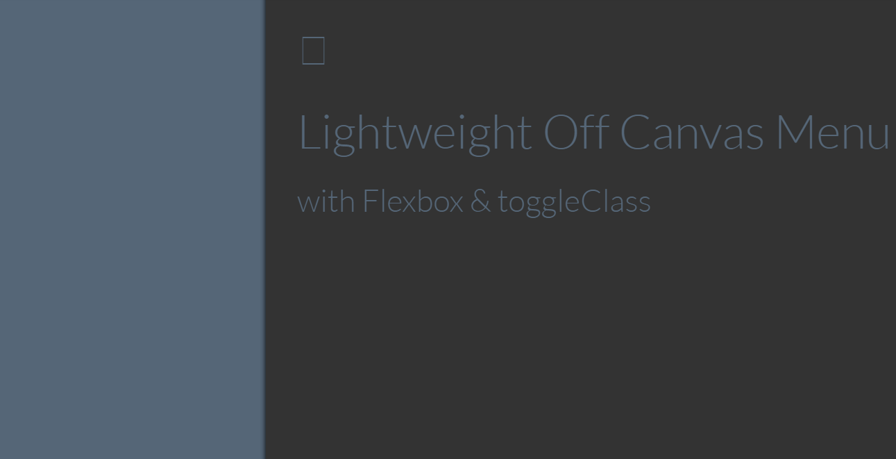 CSS Off Canvas Menu with Flexbox & ToggleClass