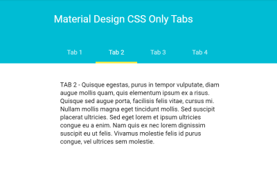 CSS Only Tabs Material Design Example