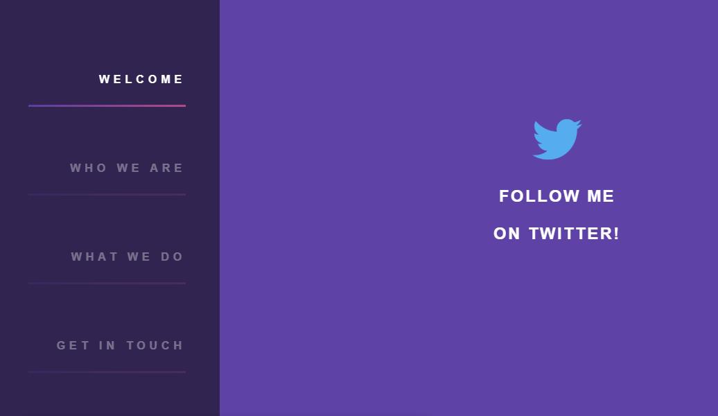 CSS Purple Sidebar Website Menu Design