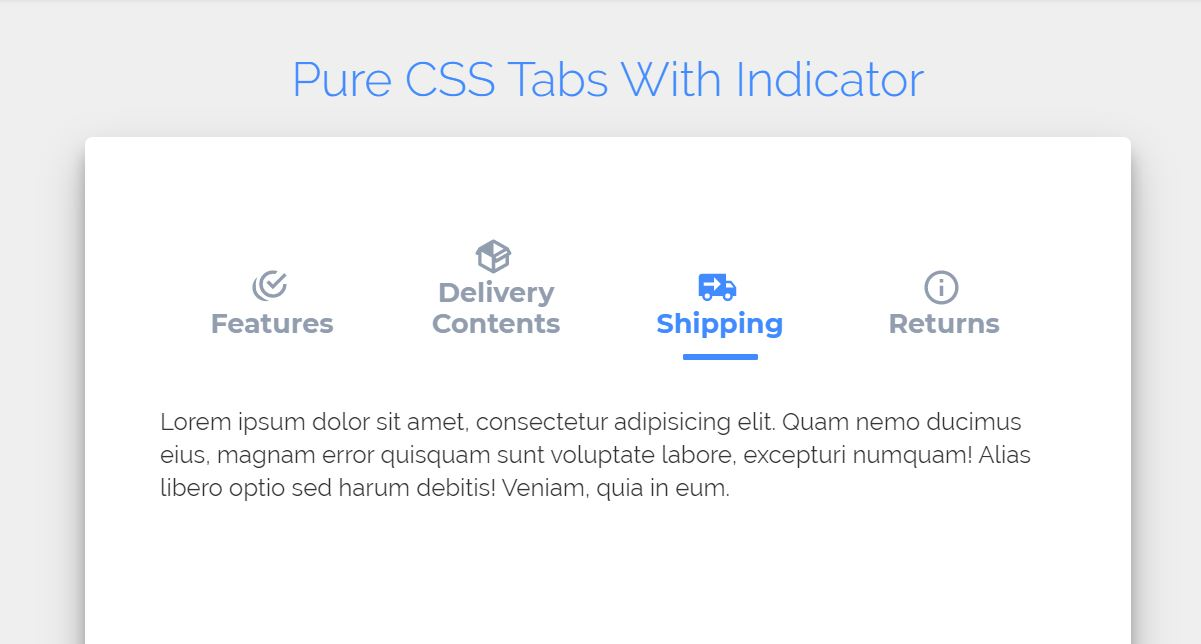 CSS Tab Menu Example with Indicator