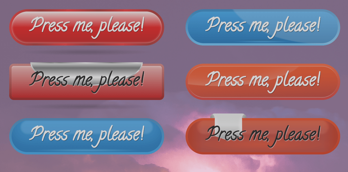 Different Styled CSS 3D Buttons Click Effect Code Snippet