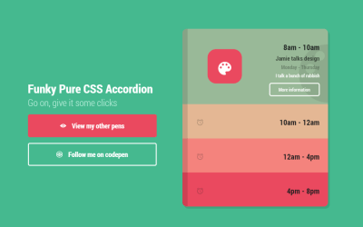 Funky Pure CSS Accordion Design Using Radio Buttons