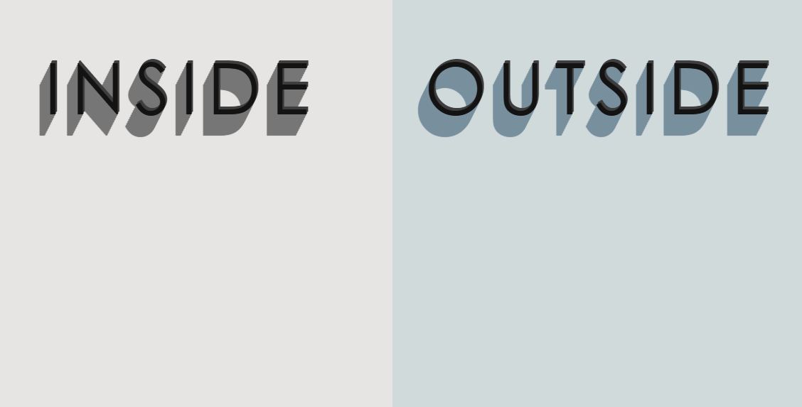 Inside Outside 3D Text Effect And Ambient Light