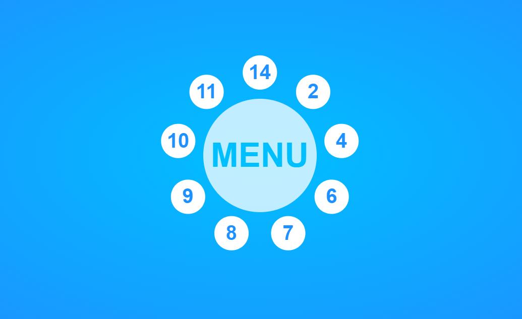 Pure HTML CSS Spin-out Circular Menu Hover