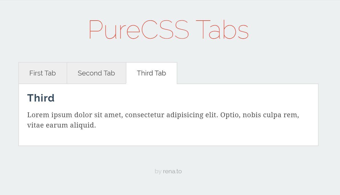 PureCSS Tabs Design Code Snippet