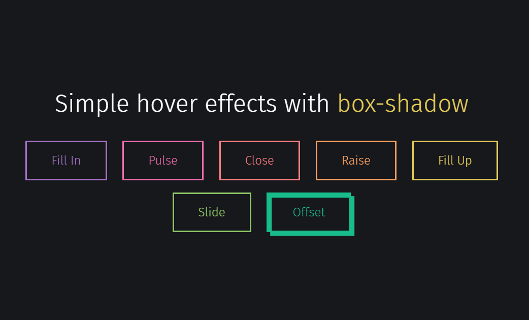 Simple Button Hover Effects with CSS Box Shadow