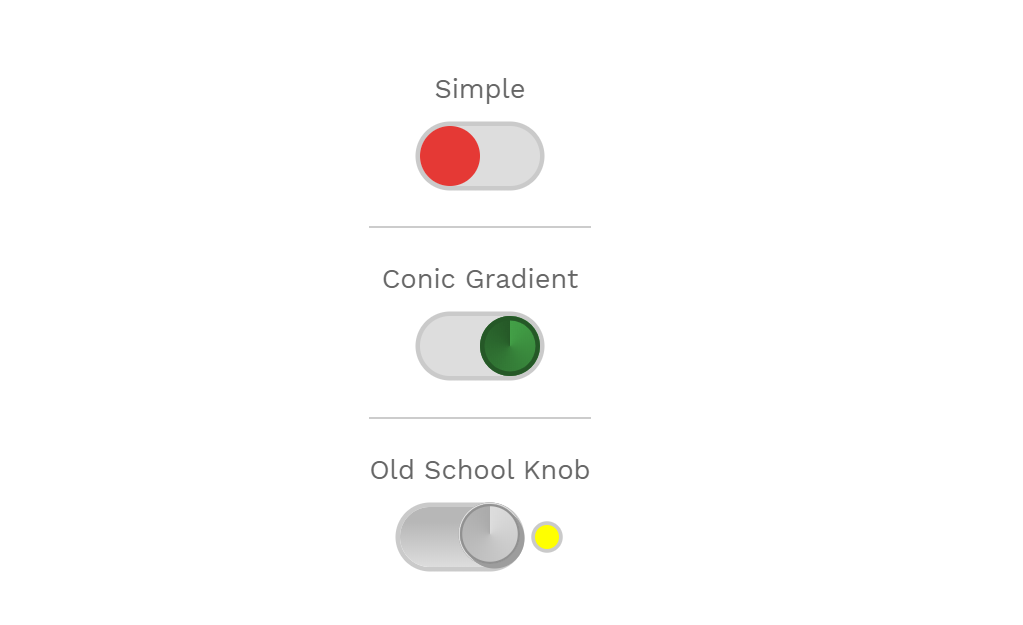 Simple CSS Knobby Toggles Examples
