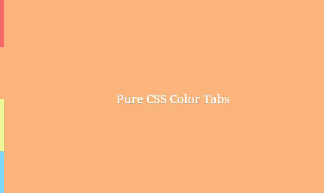 Vertical Pure CSS Color Change Tabs
