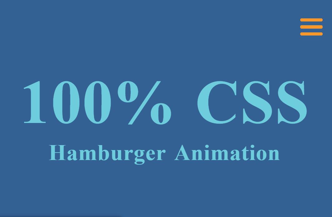 100% HTML CSS Hamburger Animation Design