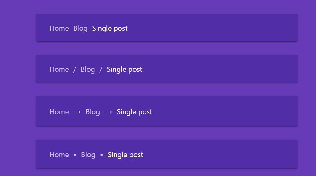 CSS Custom Properties Breadcrumb Example