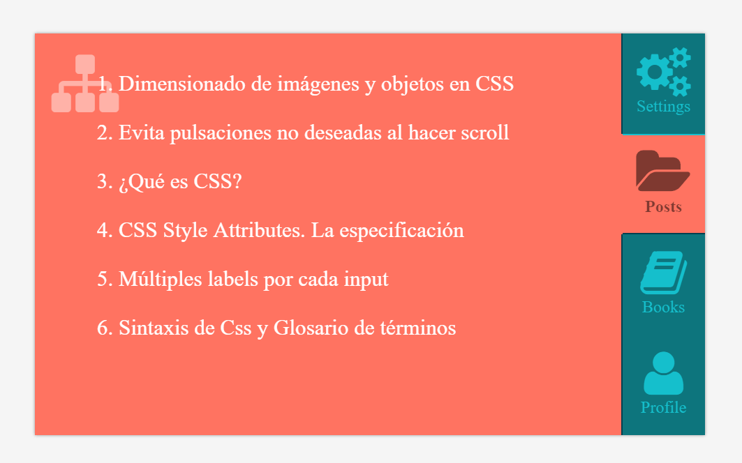 CSS Only Vertical Icon Tabs Code Snippet