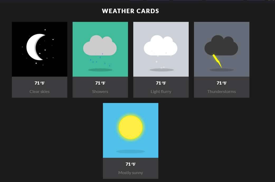 CSS3 HTML5 Flat Weather Notice Cards Animated