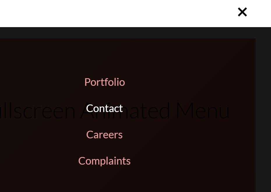 JavaScript Fullscreen Animated Menu Example