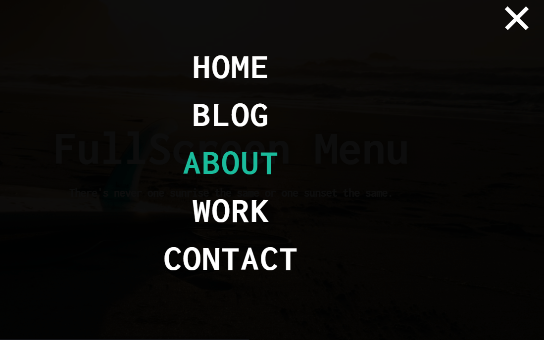 JavaScript Menu Fullscreen HTML CSS Code