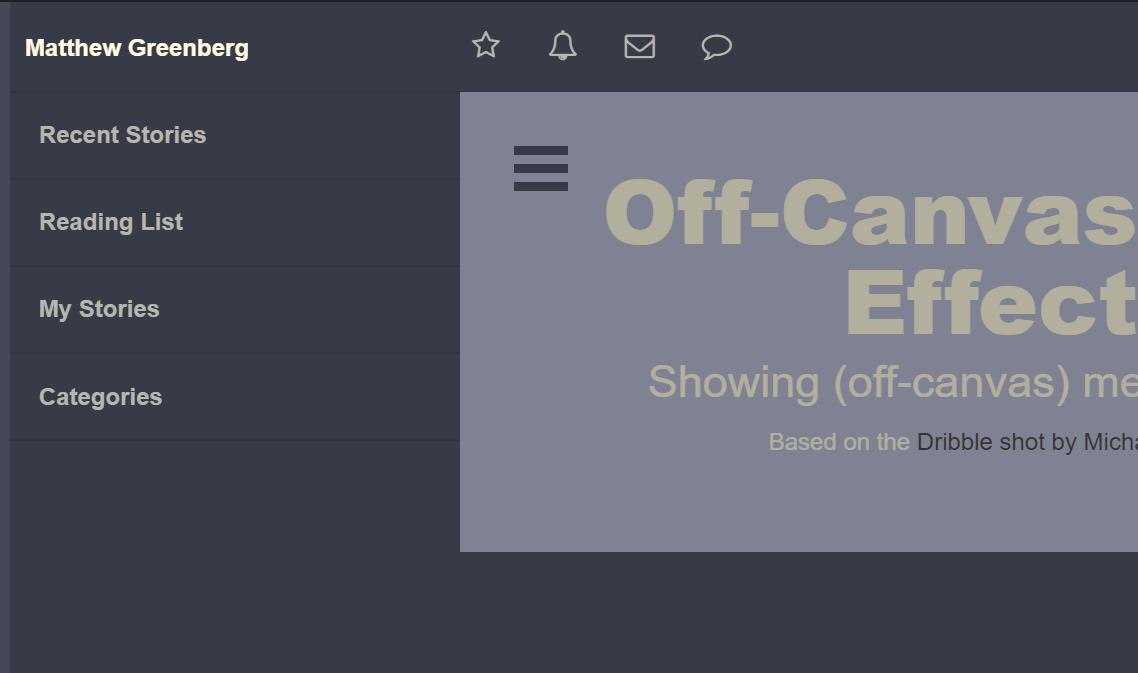 Off Canvas Top Side Java Script Menu Design