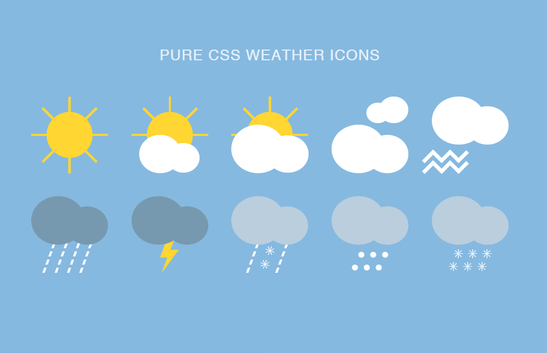 Pure CSS Weather Icons Flat Design