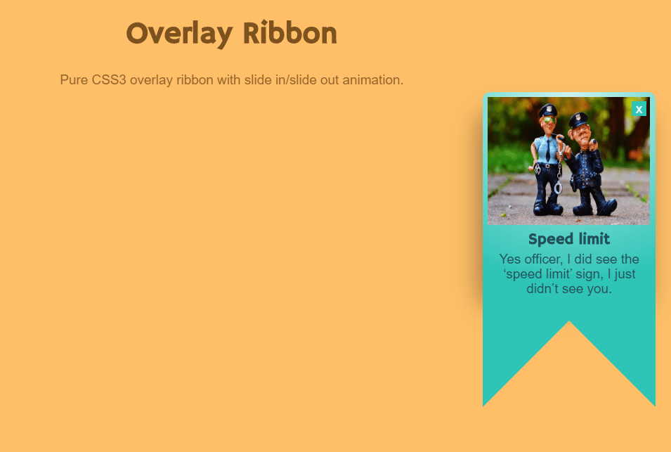 Pure CSS3 Overlay Ribbon with Slide In Out Animation