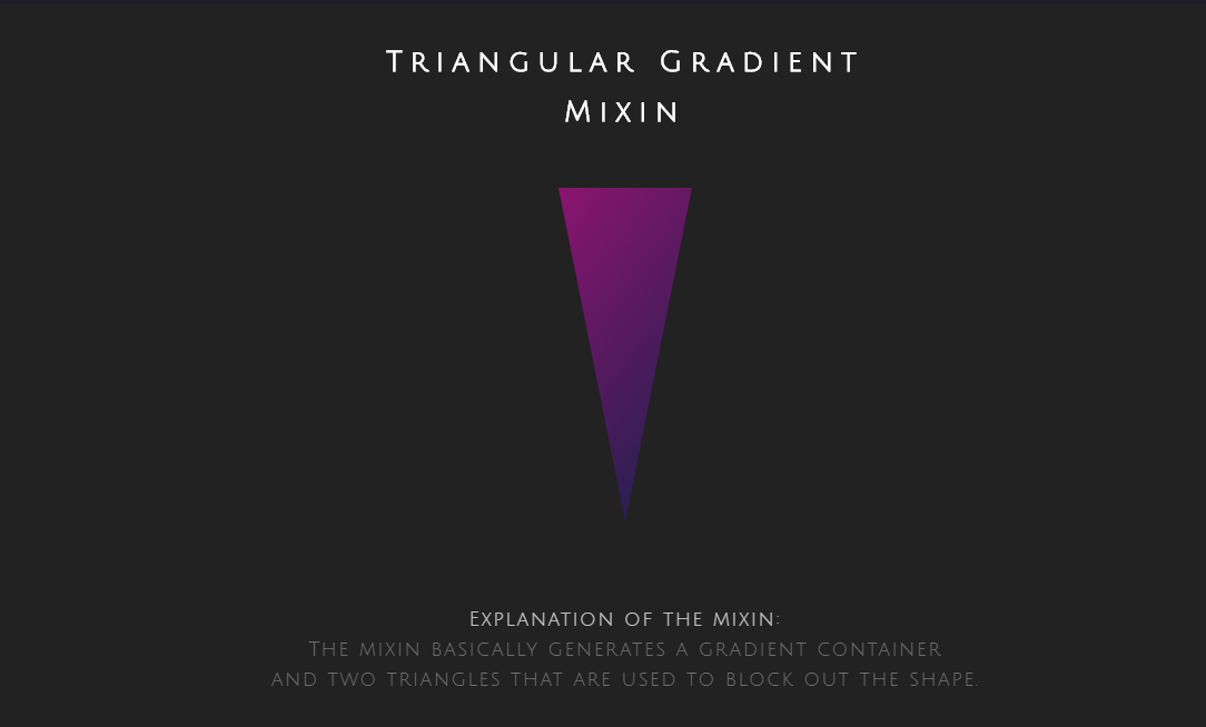 Simple CSS Quick Gradient Triangle Mixin