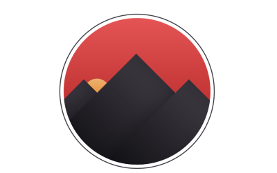 Sunset Behind Mountains Badge CSS Code