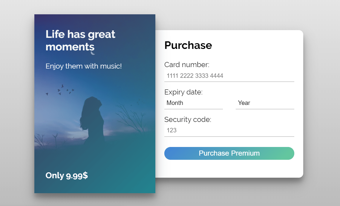 Credit Card Checkout Page CSS UI Design