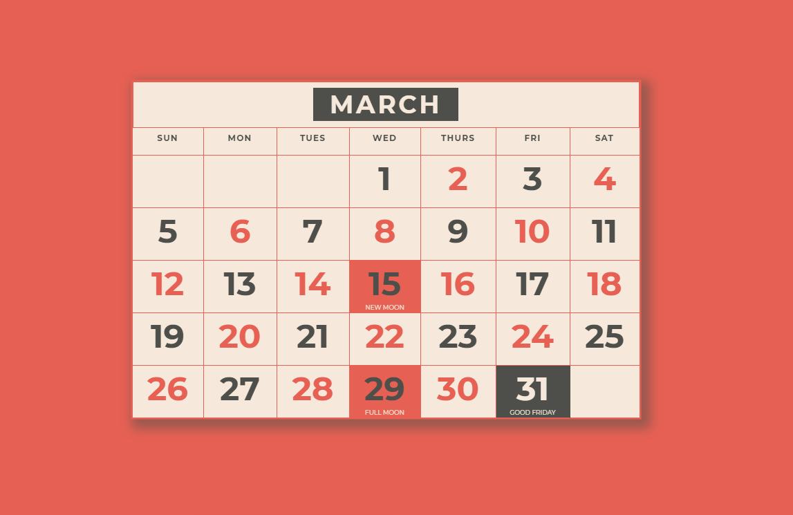 CSS Quick Mockup of Web Calendar