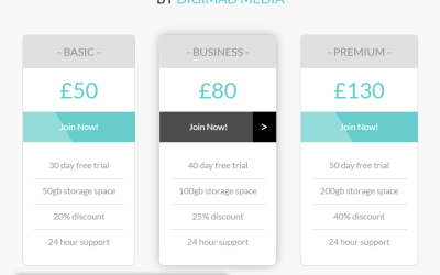 CSS Responsive Design Price Table Snippet