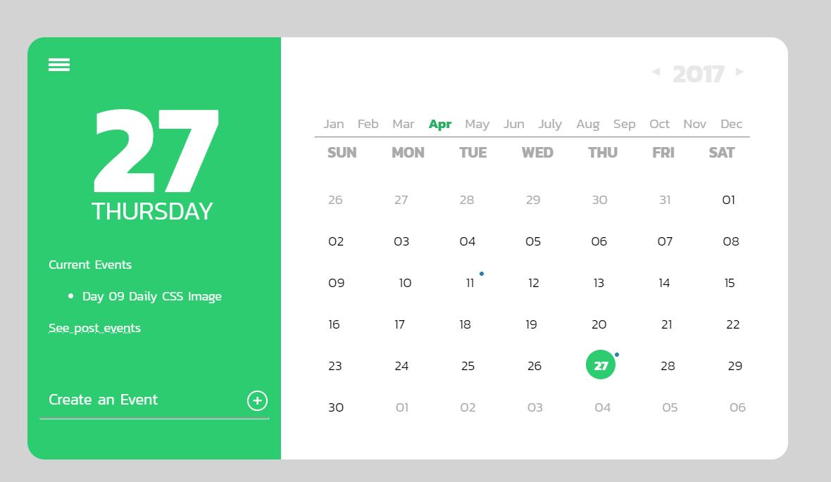 Daily CSS Images Calendar Inspiration
