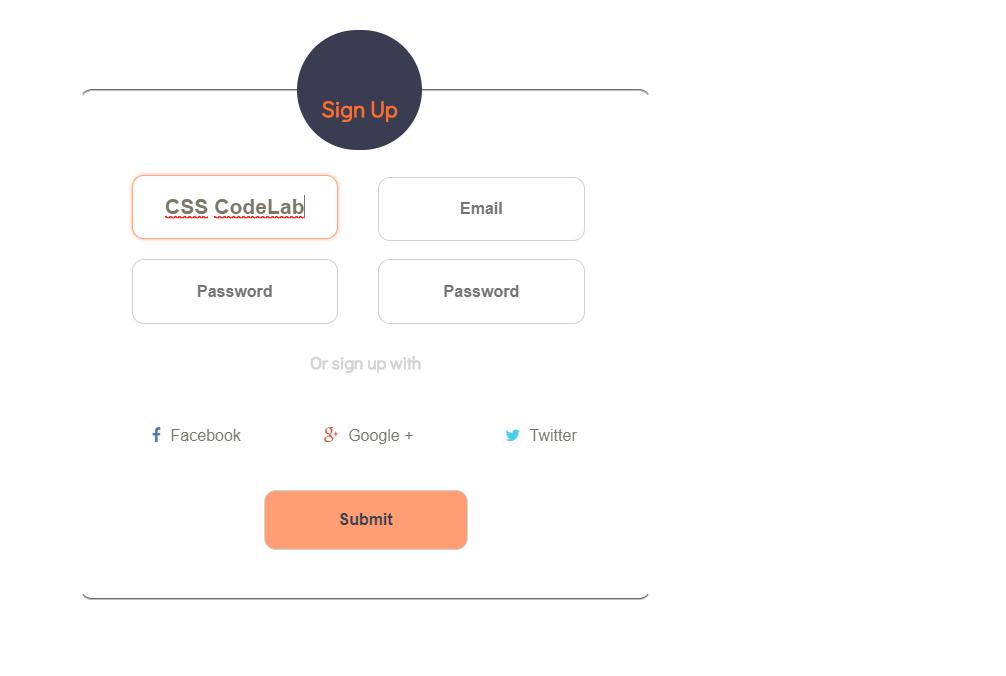 HTML CSS Only Registration Form Design