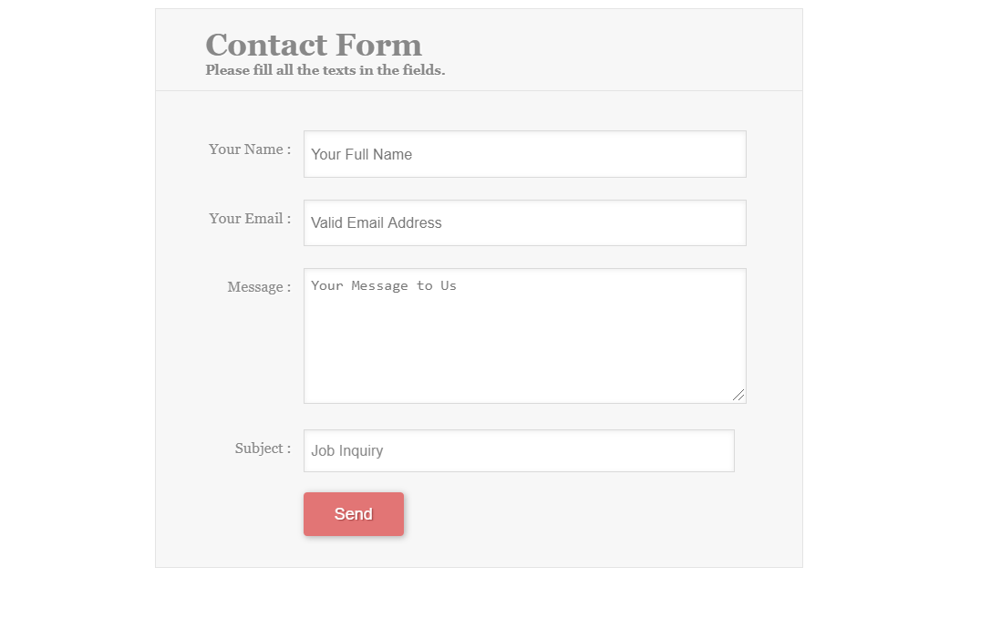 HTML Online Email Contact Form Code Snippet