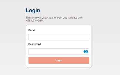 Login Form CSS Only Validation Code Example