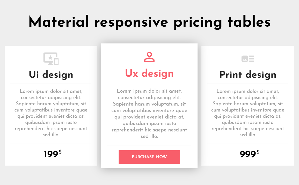 Material Design CSS Responsive Pricing Tables