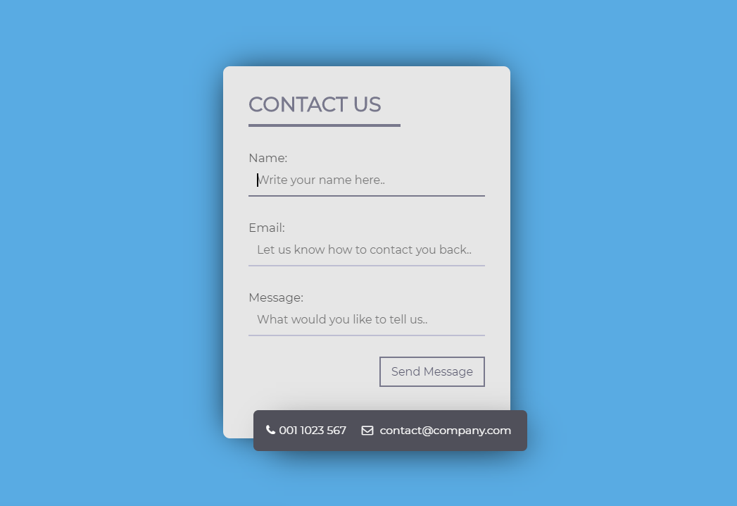 Online Message Send Contact Page HTML CSS