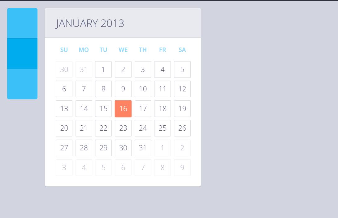 Pure CSS Calendar Design Code Snippet