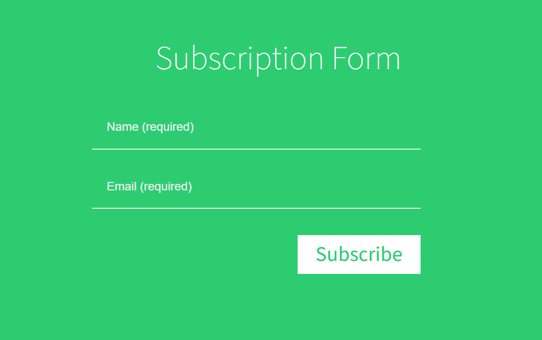 Pure CSS Flat UI Simple Subscription Form