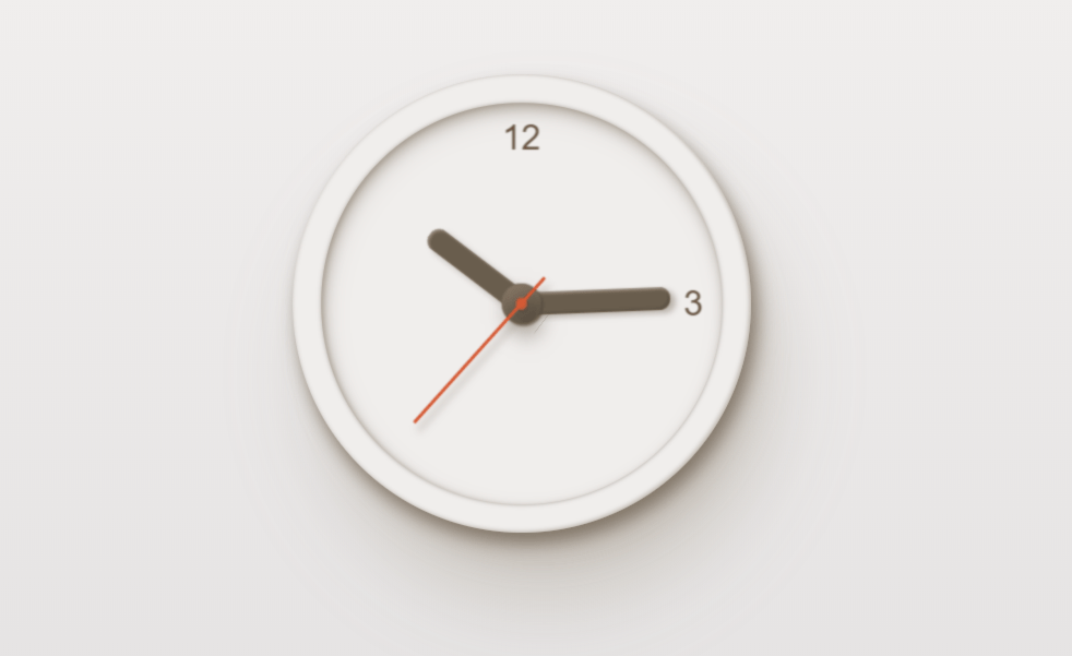 Realistic Minimal CSS Clock Code Snippet