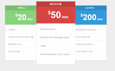 Simple CSS Only Price Tables Design