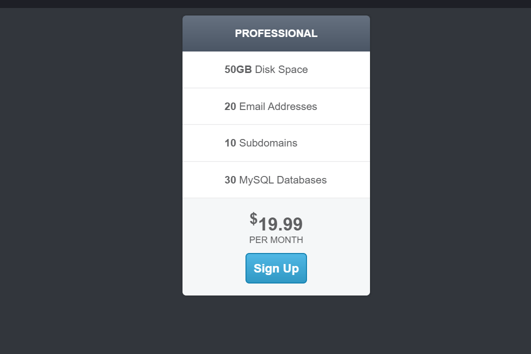 Single HTML5 CSS3 Simple Pricing Table List