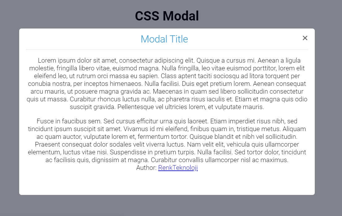 CSS Only Modal Box Website Design